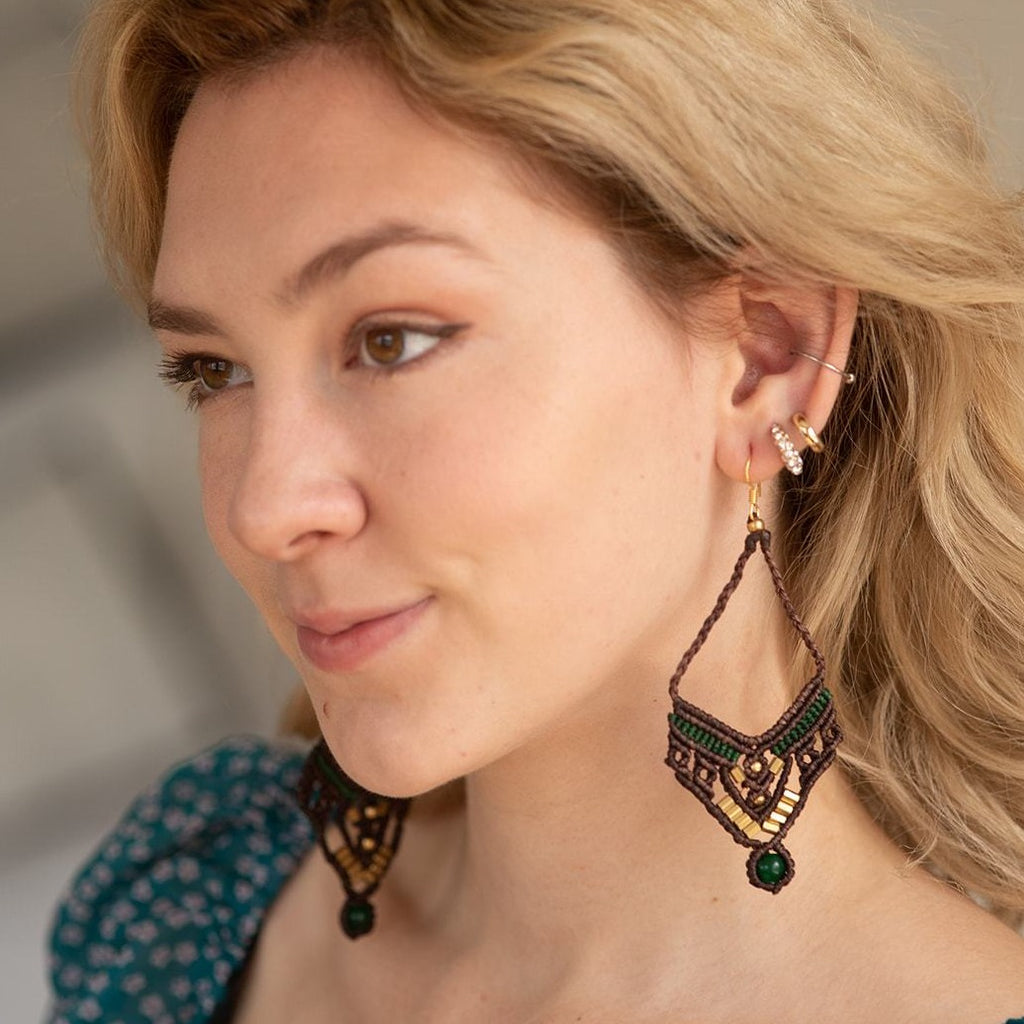 Tibet Style Earrings - Dark brown/Bamboo green
