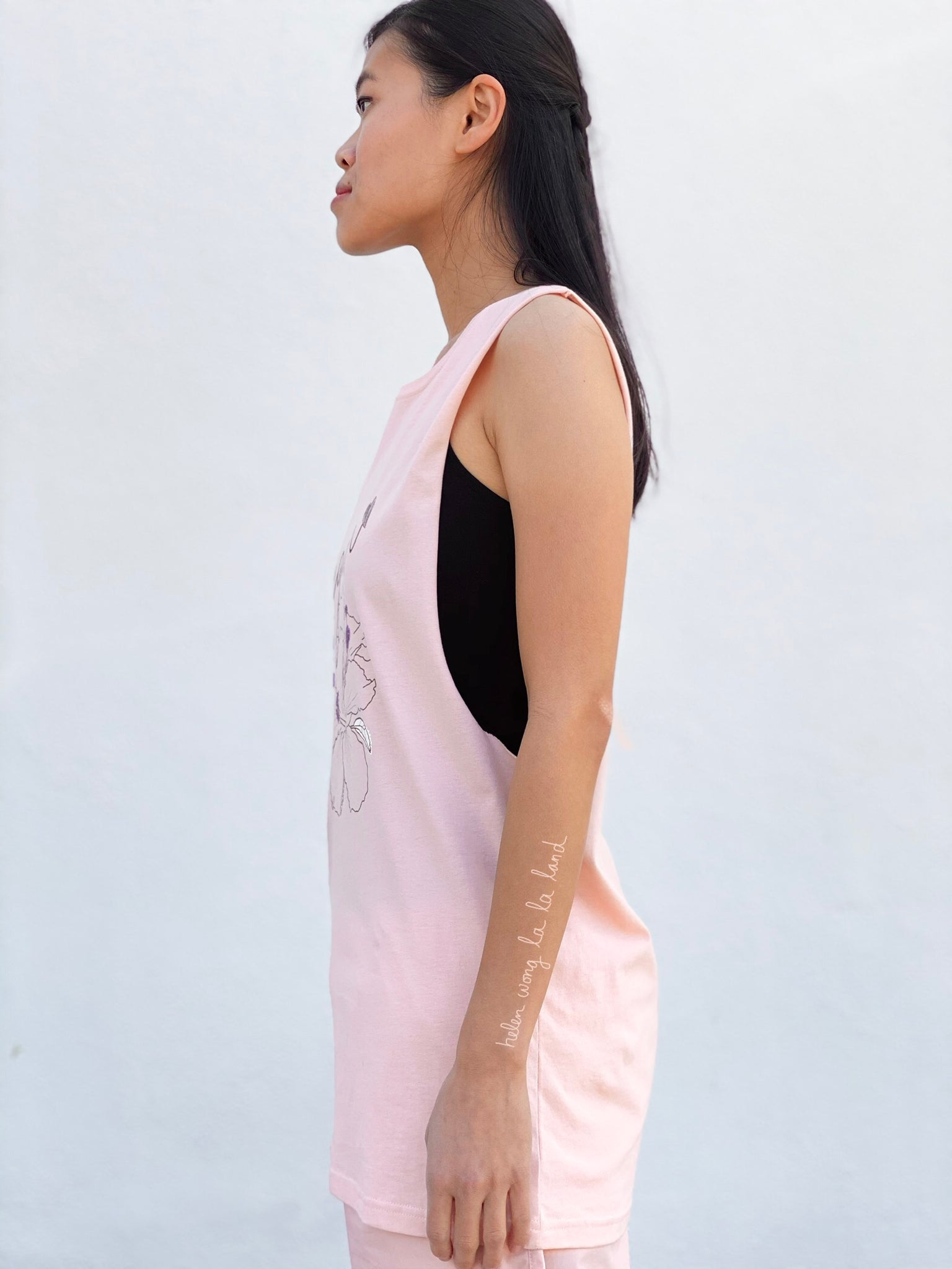 (S/S 2020) ✌🏼Vegan Hawaii sleeveless tee in PALE CORAL PINK