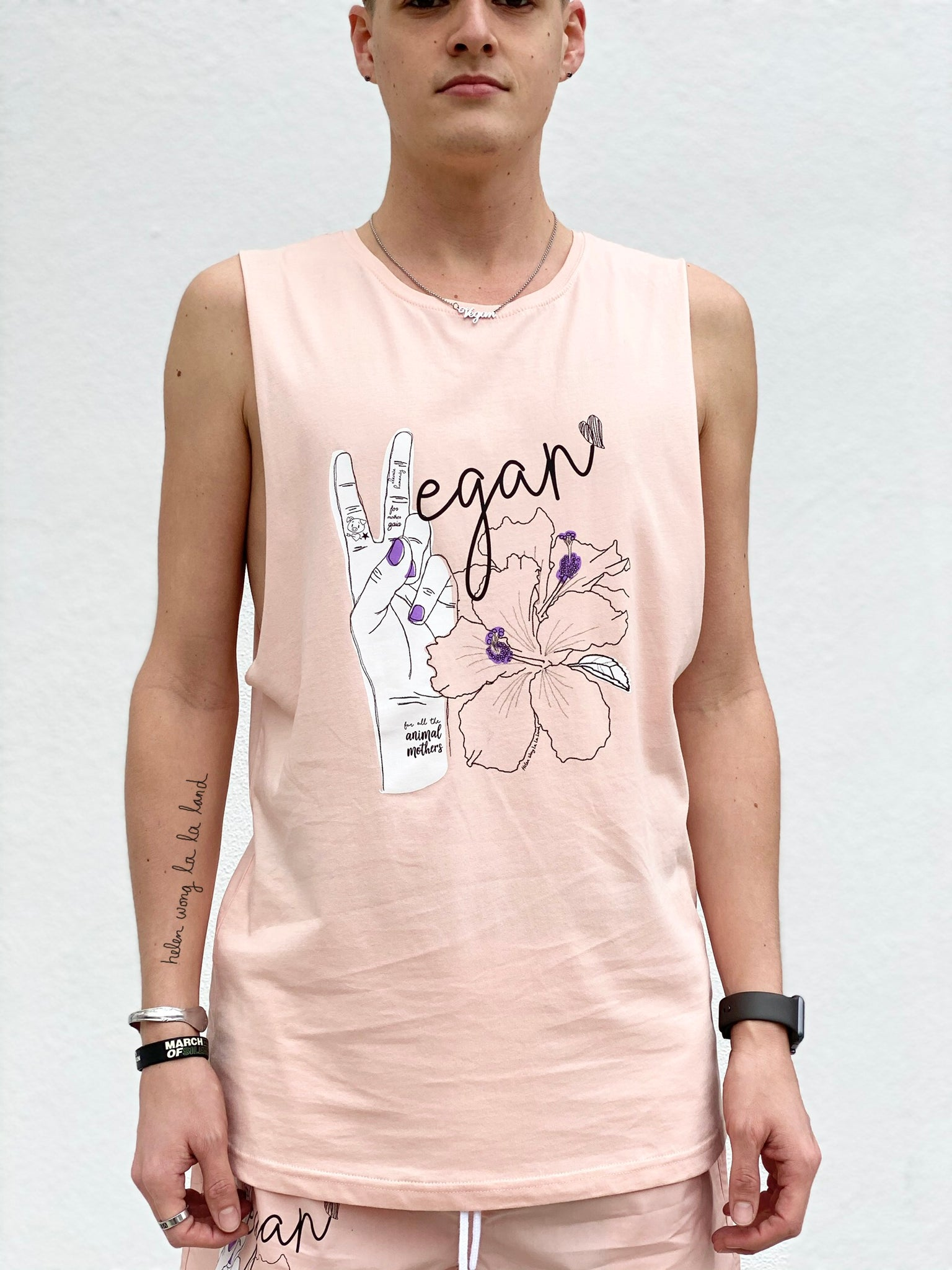 (S/S 2020) ✌🏼Vegan Hawaii sleeveless tee in PALE CORAL PINK m