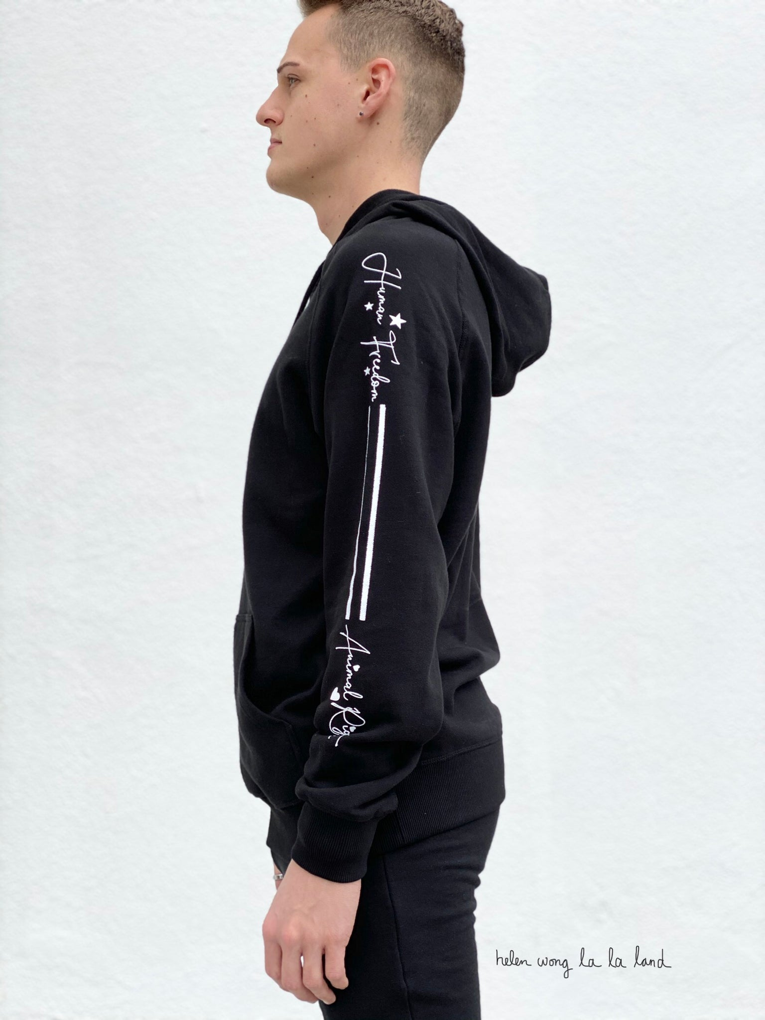 (S/S 2020) Human Freedom = Animal Rights hoodie in BLACK