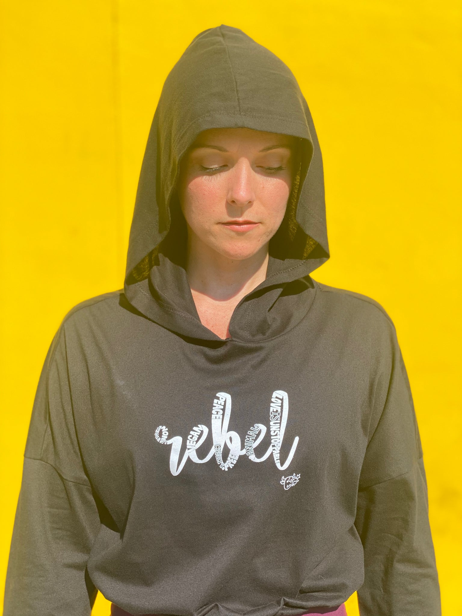 (S/S 2020) Rebel lightweight cinched cropped hoodie in BLACK