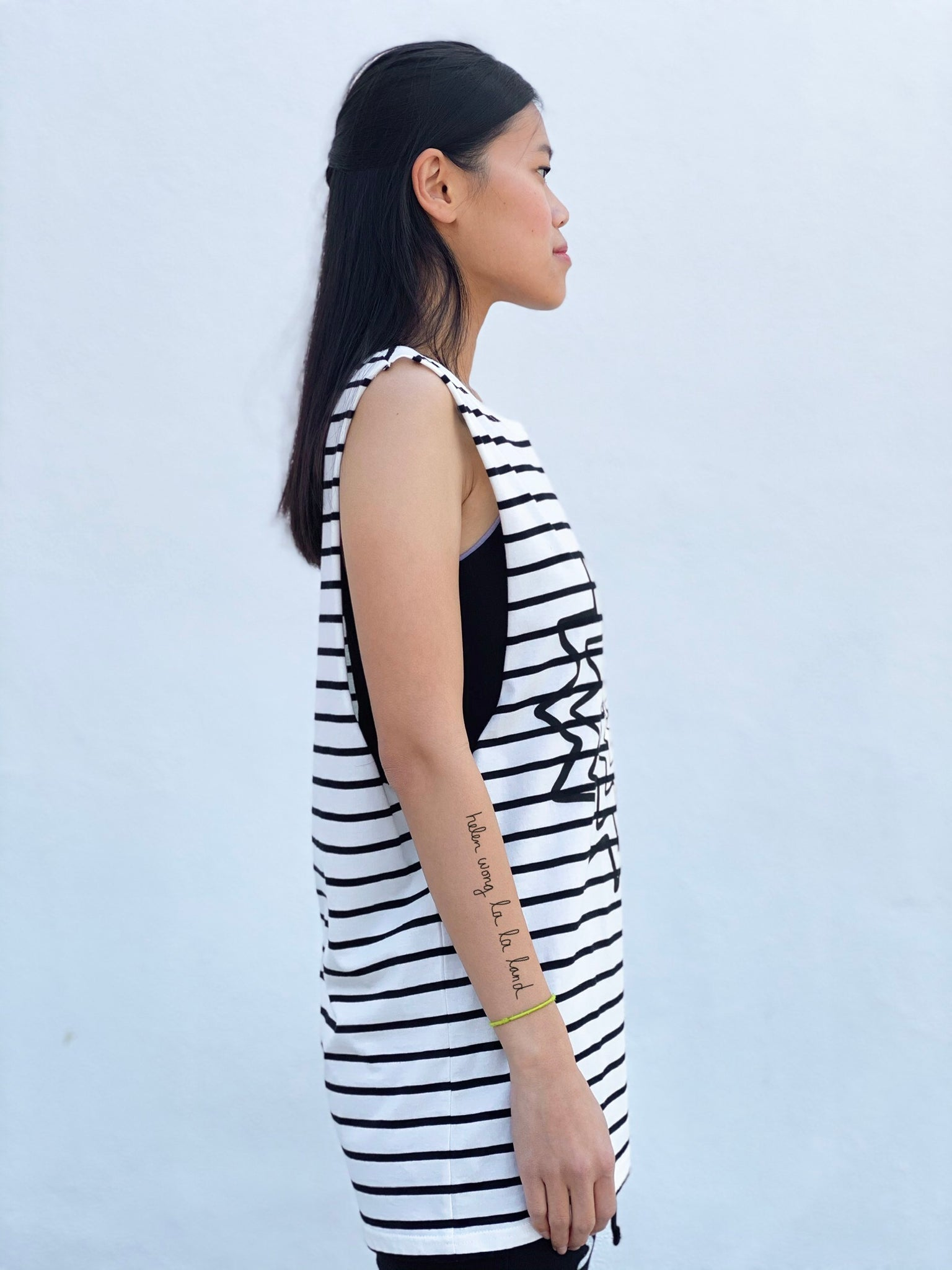 (S/S 2020) Empty All The Cages sleeveless tee in CREAM/BLACK STRIPE