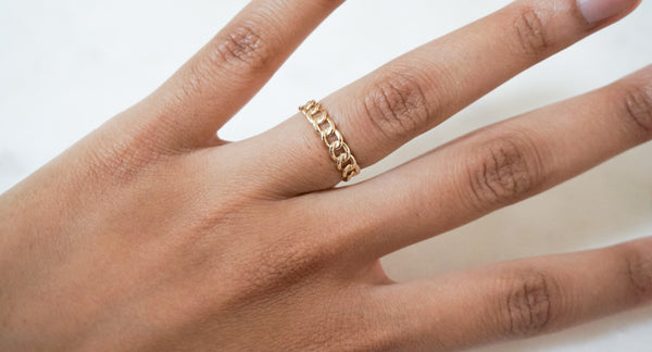 14k Thick Chain Ring