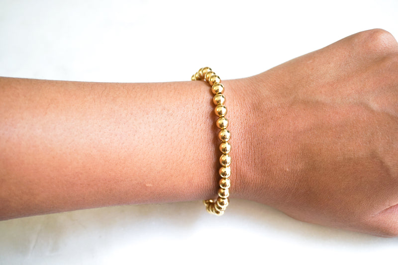 14k Gold 5mm Bead Bracelet