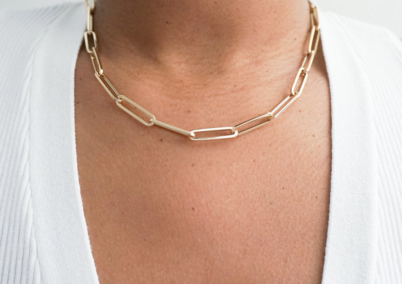 14k Large Paperclip Chain Necklace - Nolita