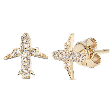 14k Diamond Airplane Stud Earrings - Nolita