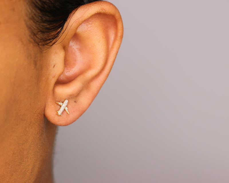 14k Diamond Airplane Stud Earrings