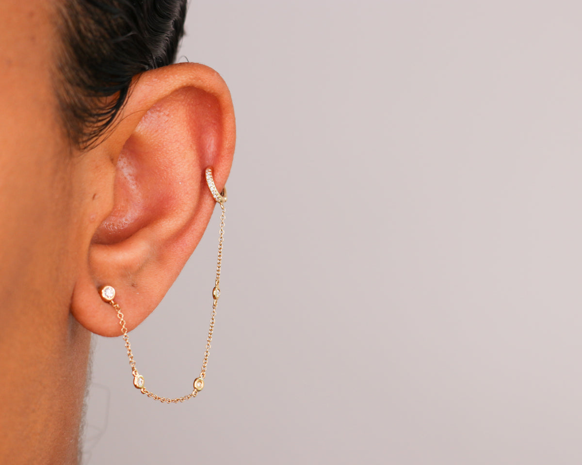 14k Diamond Chain Ear Cuff - Nolita