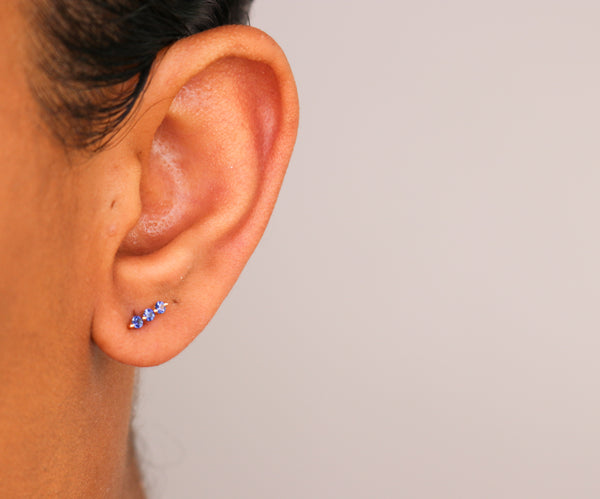 14k Sapphire Bar Stud Earrings