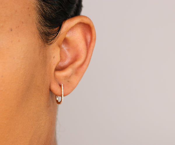 14k Diamond Rectange Hoop Earrings