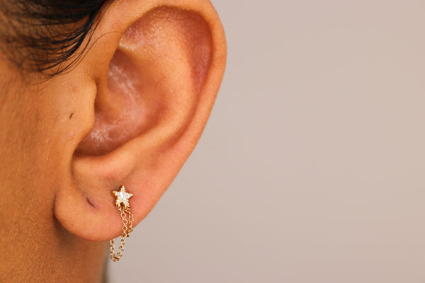 14k Diamond Star Earrings