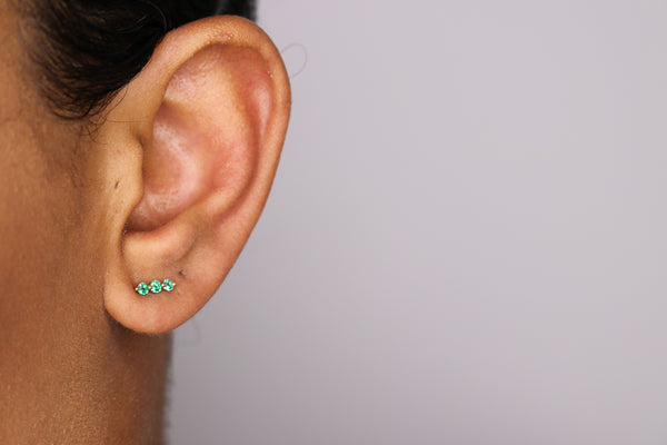 14k Emerald Bar Stud Earrings
