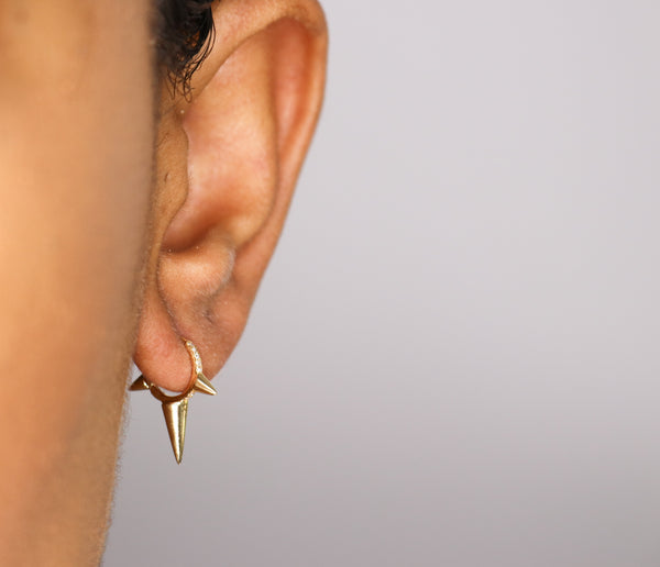14k Gold Spike Hoop Earrings - Nolita