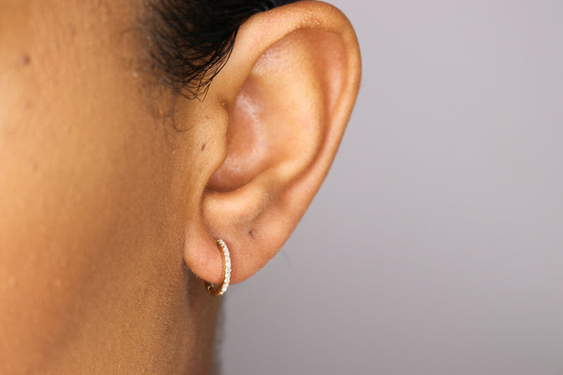 14k Diamond Hoops