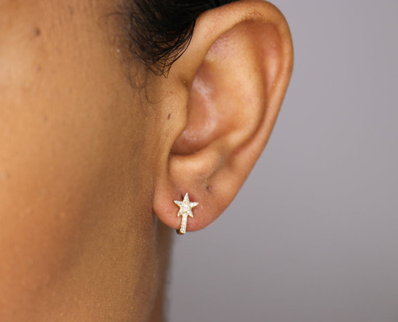 14k Diamond Star Huggies