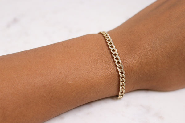 14k Diamond Cuban Link Bracelet
