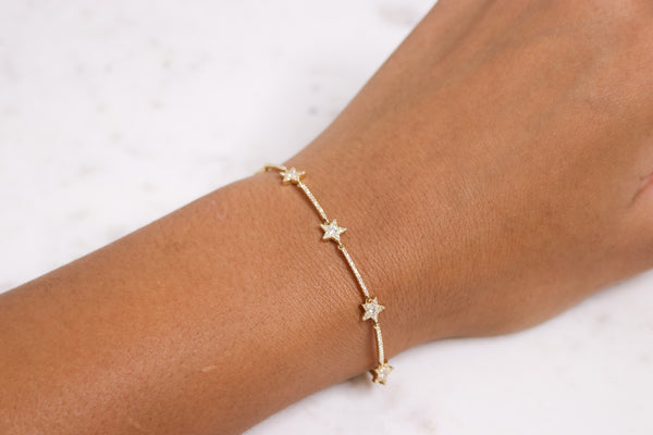 14K Gold Diamond Star Bracelet - Nolita