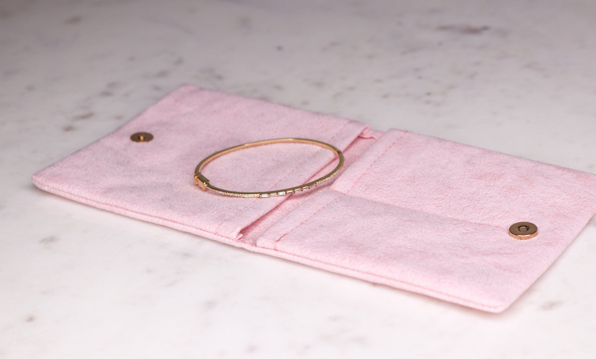 14k Gold Diamond Baguette Bangle - Nolita