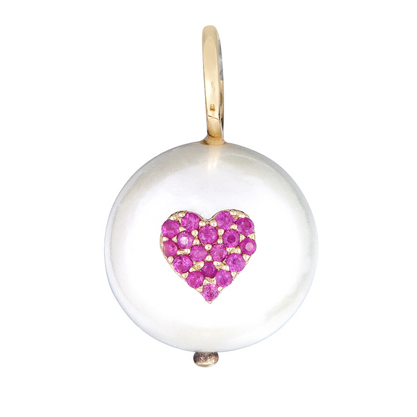 14k Gold Ruby Heart Charm - Nolita