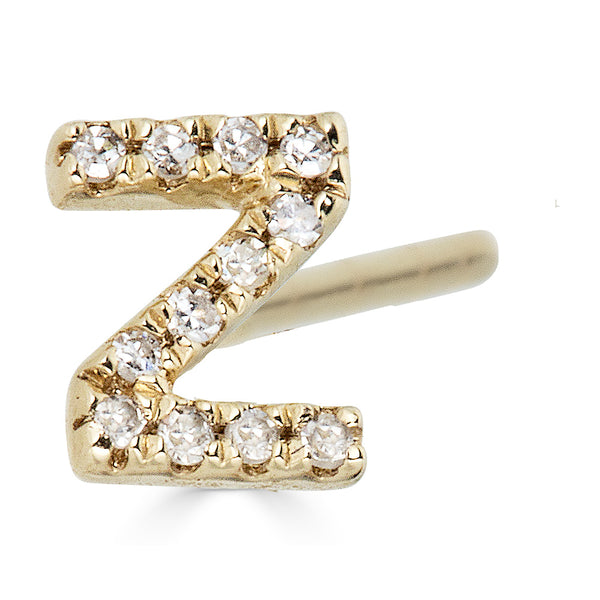 14k Diamond Initial Stud