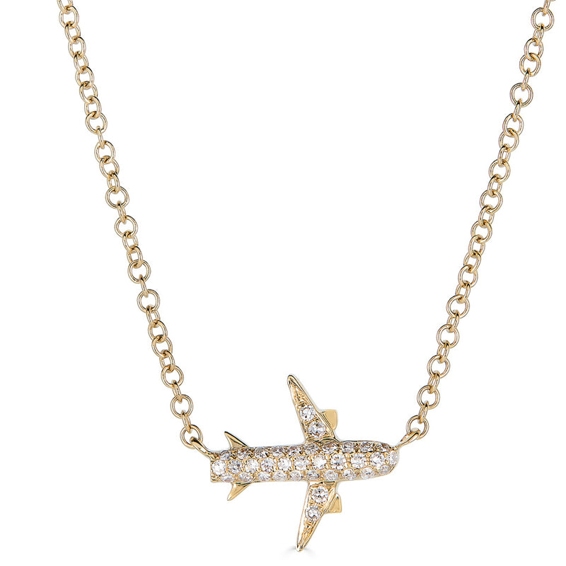 14k Diamond Airplane Necklace
