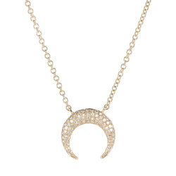 14k Diamond Gold Horn Necklace