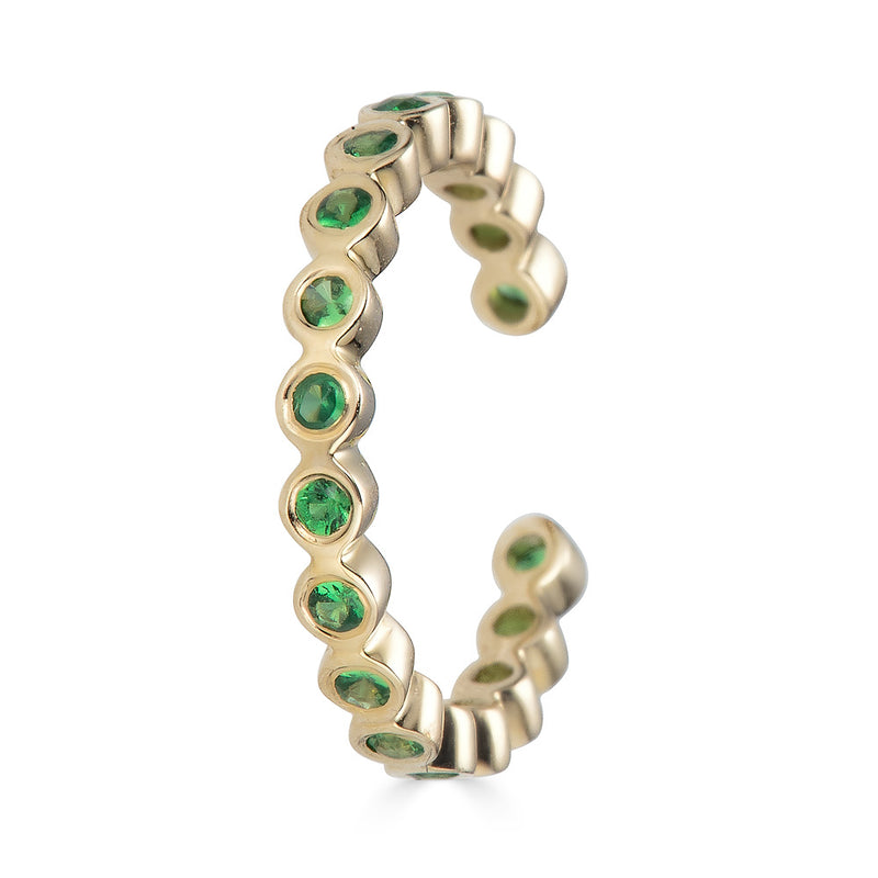 14k Emerald Bezel Ear Cuff