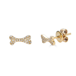 14k Diamond Dog Bone Earrings