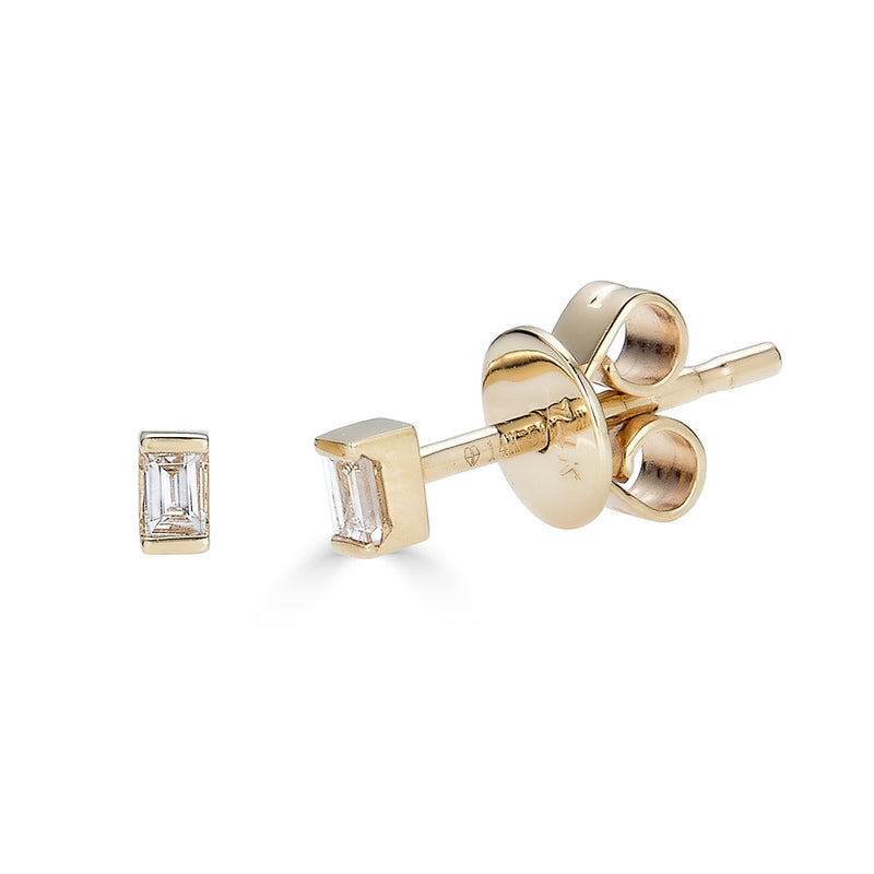 14k Gold Diamond Baguette Studs