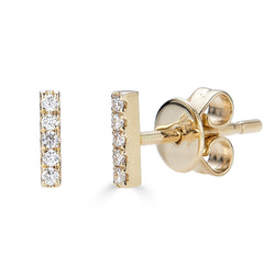 14k Diamond Bar Stud Earrings - Small
