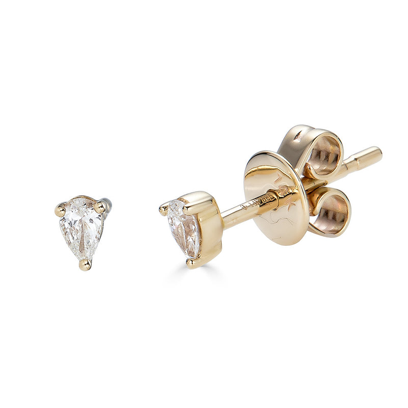 14k Diamond Pear Studs