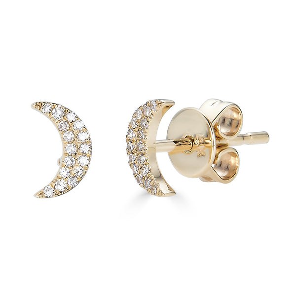 14k Diamond Moon Studs