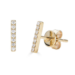 14k Diamond Bar Stud Earrings - Large