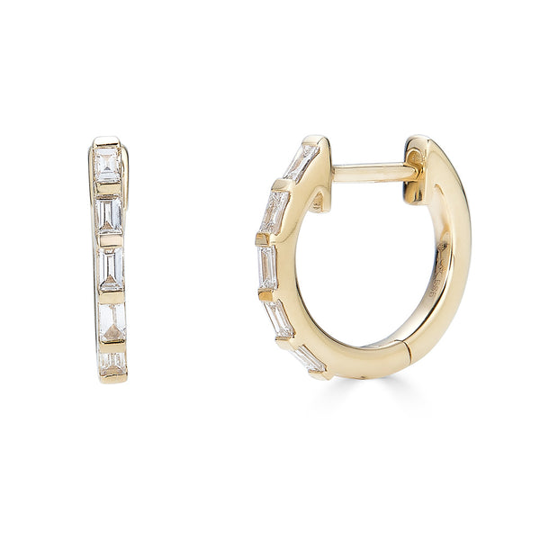 14k Diamond Baguette Hoop Earrings - Nolita