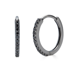 14k Black Diamond Huggie Hoop Earrings