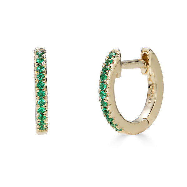 14k Emerald Huggie Hoop Earrings