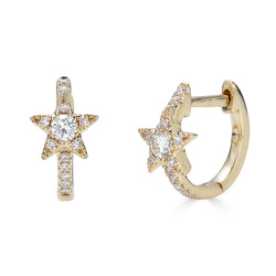 14K Diamond Star Huggie Earrings - Nolita