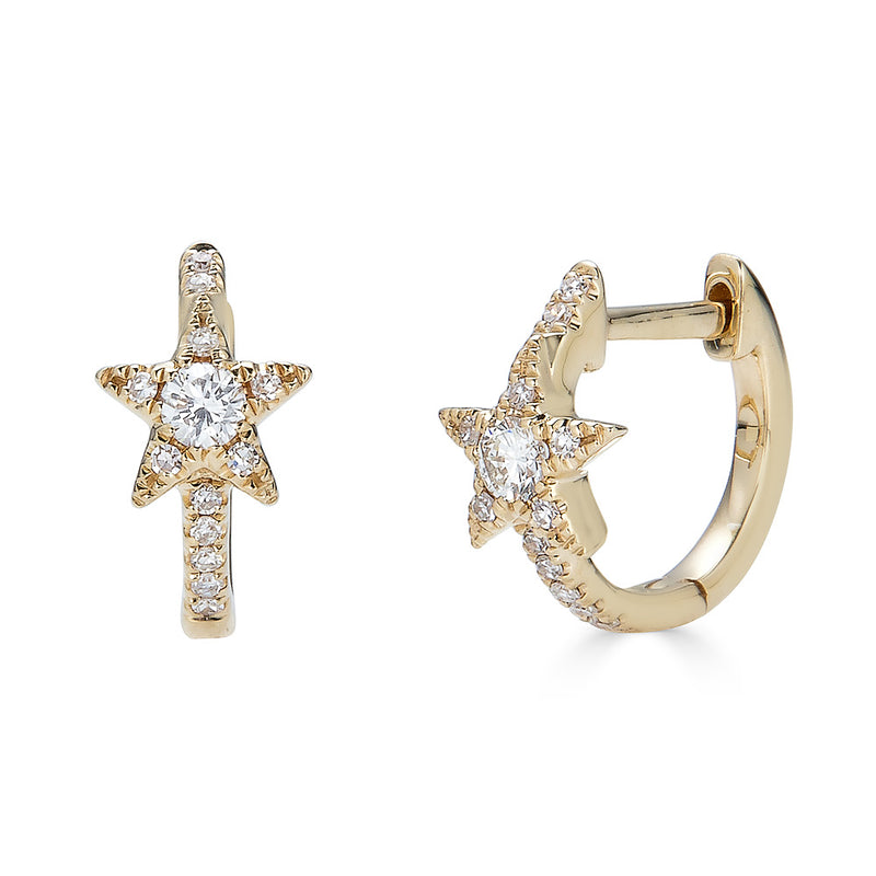 14K Diamond Star Huggie Earrings