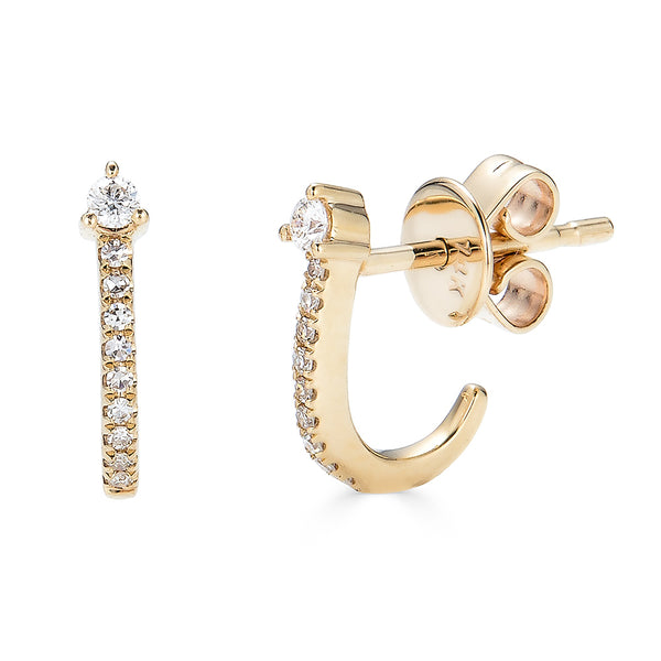 14k Diamond Hook Stud Earrings