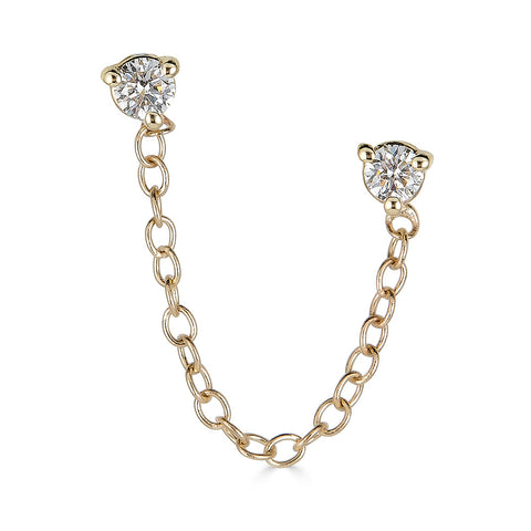14k Diamond Chain Studs - Nolita