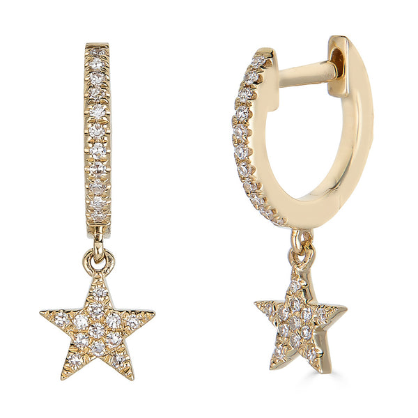 14k Diamond Star Earrings - Nolita