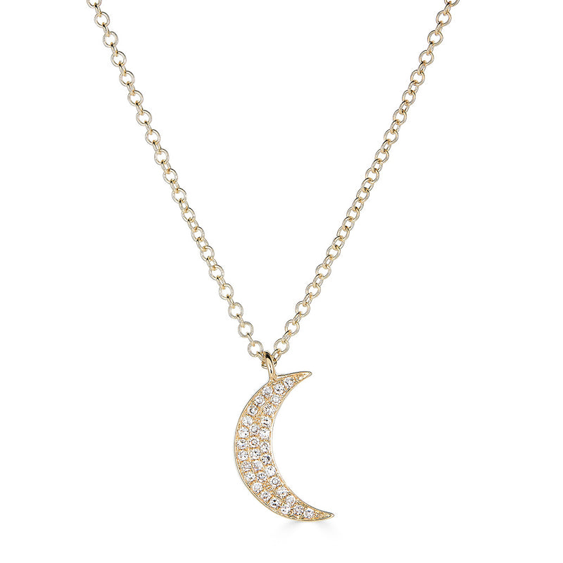 14k Diamond Moon Necklace