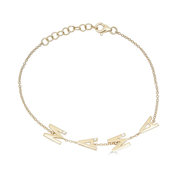 14k Gold Diamond Mama Bracelet
