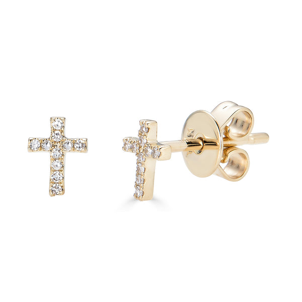 14k Gold Diamond Cross Studs