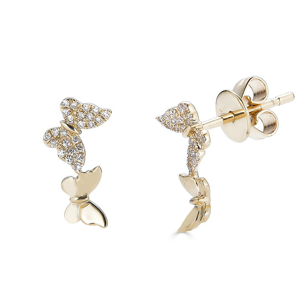 14k Diamond Butterfly Earrings