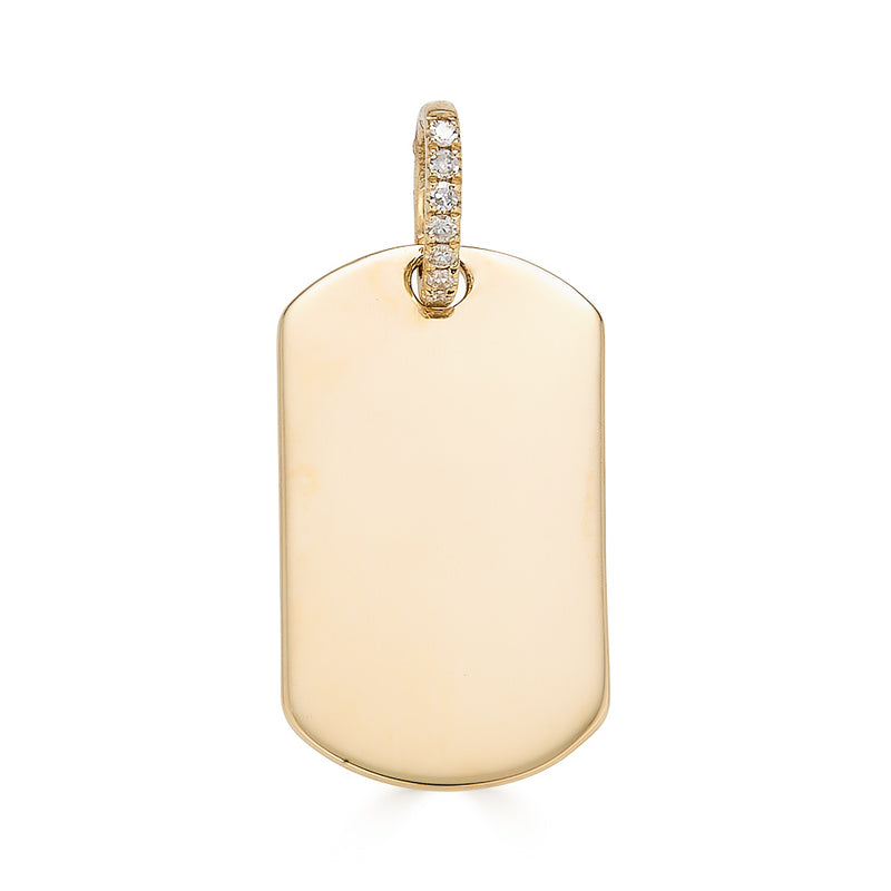 14k Diamond Dog Tag Necklace