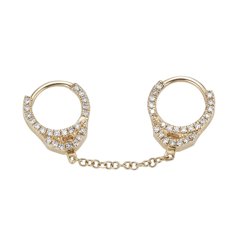 14k Diamond Hand Cuff Earrings- Small