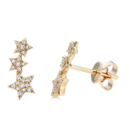14K Diamond Star Ear Crawlers