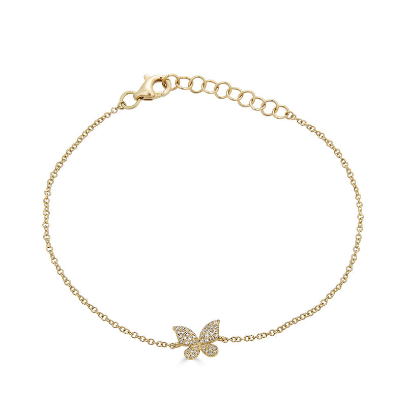 14k Gold Diamond Butterfly Bracelet