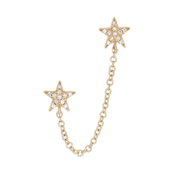 14k Diamond Star Chain Earrings